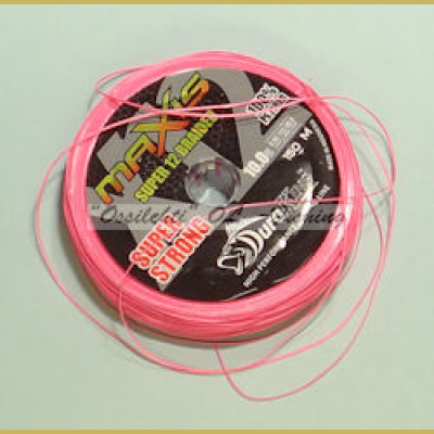 Hollow Super Strong 12 x Braided Line DuraKing Maxis Fluo Pink 0.22 150m 23.6kg