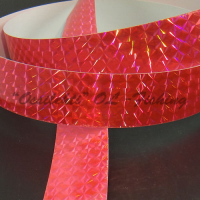 Prism tape Salmon red pink fluorescent hologram 1m