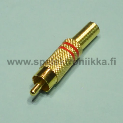 RCA male plug metal gold plated red stripes