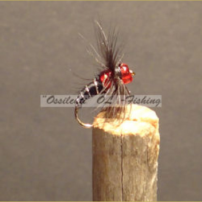 Two Pearl Fly Black & Ruby koko #12