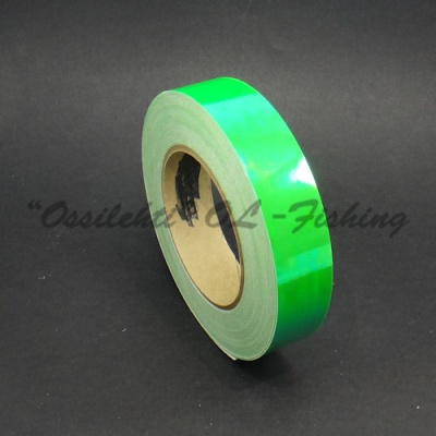 Color-changing chameleon tape for ice lures bright greenish FL