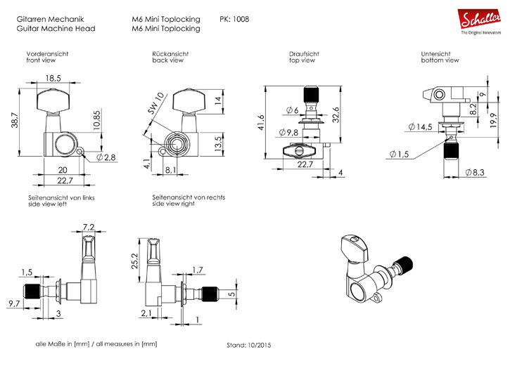 Virityskoneisto 6L Schaller Black Chrome 10040420 01 55 M6 Mini Toplocking